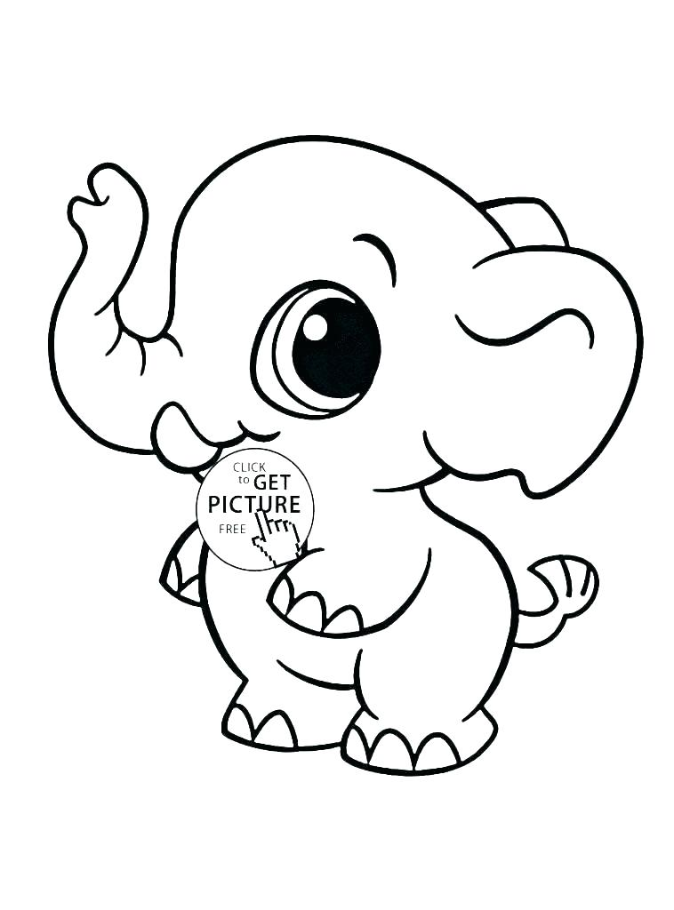 758x1024 Elephant Coloring Page