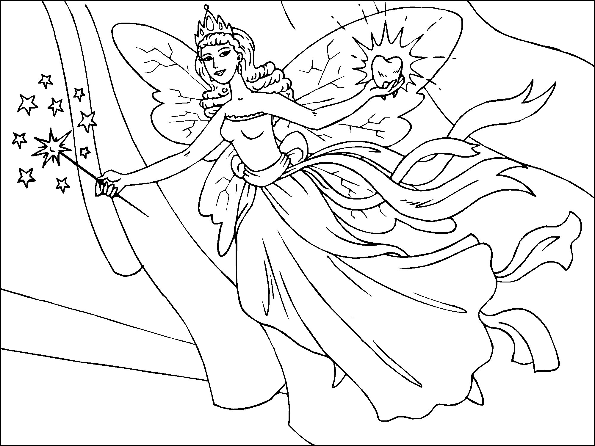 2000x1500 Fairy Colouring Pictures