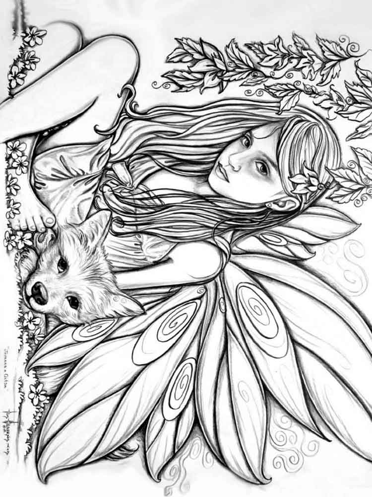 750x1000 Fairy Coloring Pages For Adults Free Printable Fairy Coloring Pages