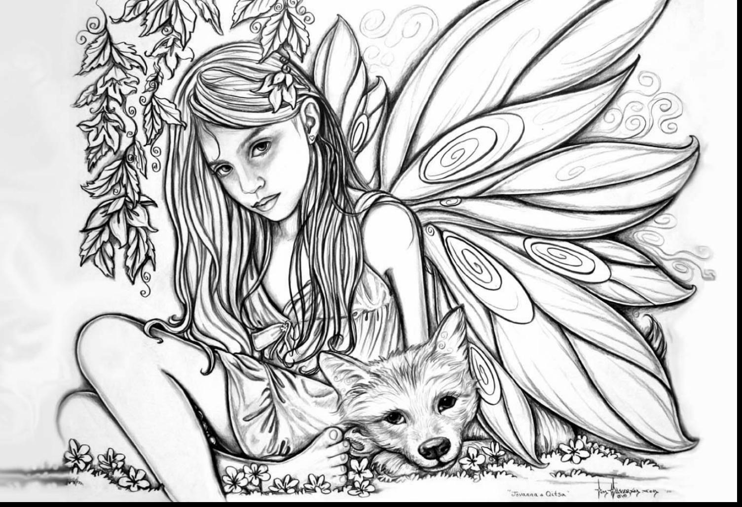1504x1029 Unbelievable Adult Fairies Coloring Pages Printable With Color