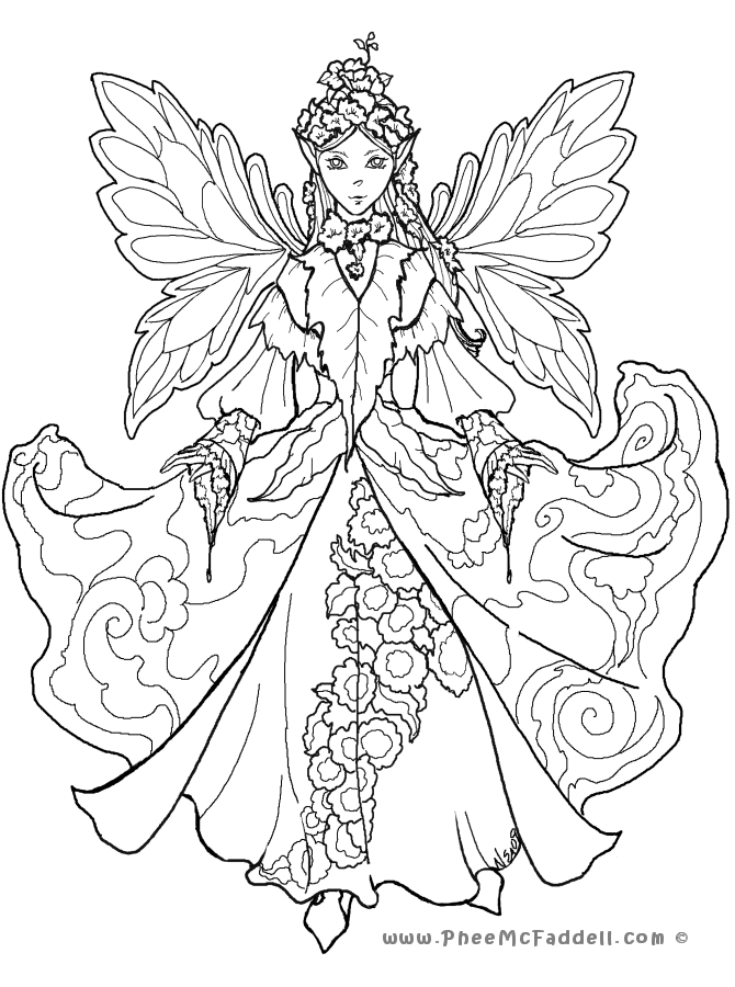 670x900 Detailed Fairy Coloring Pages