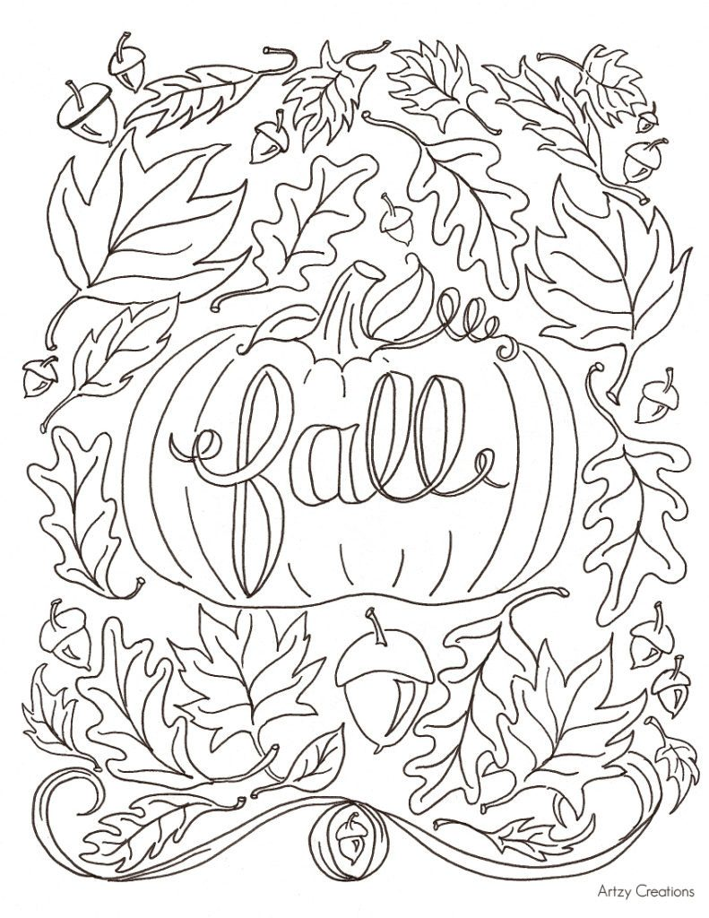 791x1024 Fall Leaf Coloring Pages