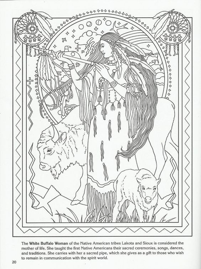 705x944 White Buffalo Woman Native American Goddess Challenging Coloring