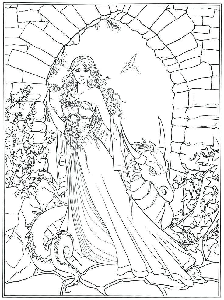 736x982 Coloring Pages Fantasy Fantasy Coloring Pages For Adults Dark