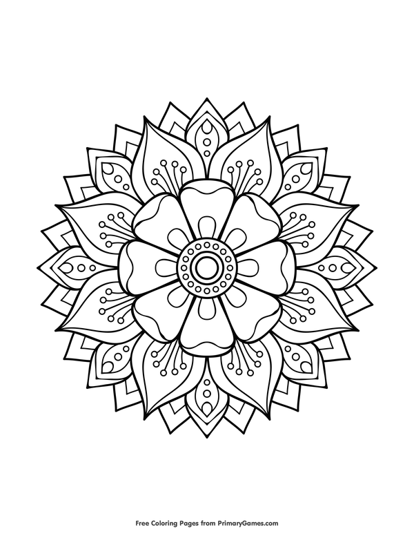 600x776 Mandalas Coloring Pages Ebook Floral Mandala Mandalas, Colorear