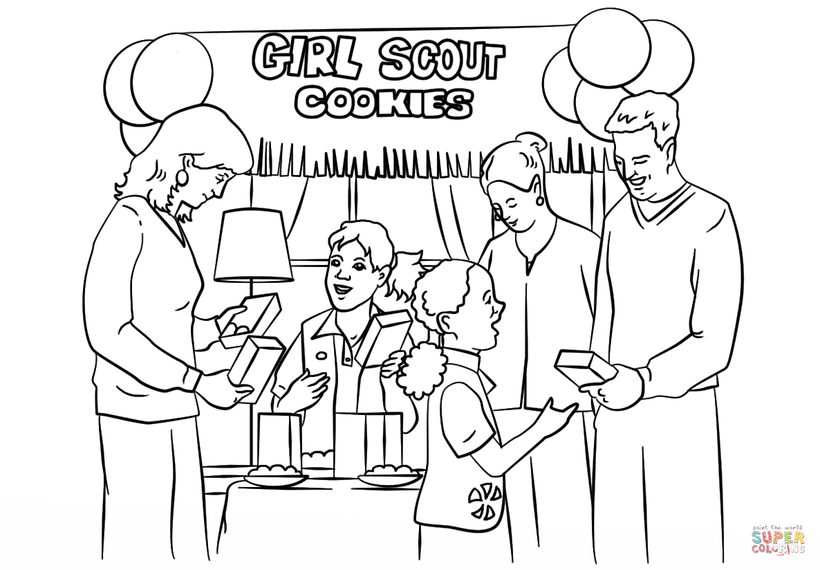 1186x824 Girl Scout Cookie Coloring Pages Brownie Scouts Selling Cookies