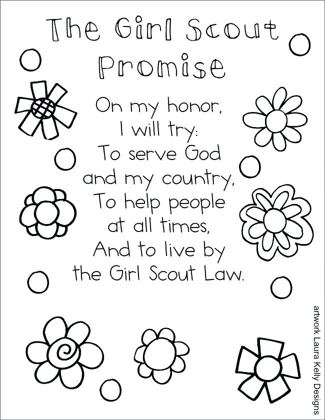 650x840 Girl Scout Promise Printable Bookmark Kids Coloring Free Girl