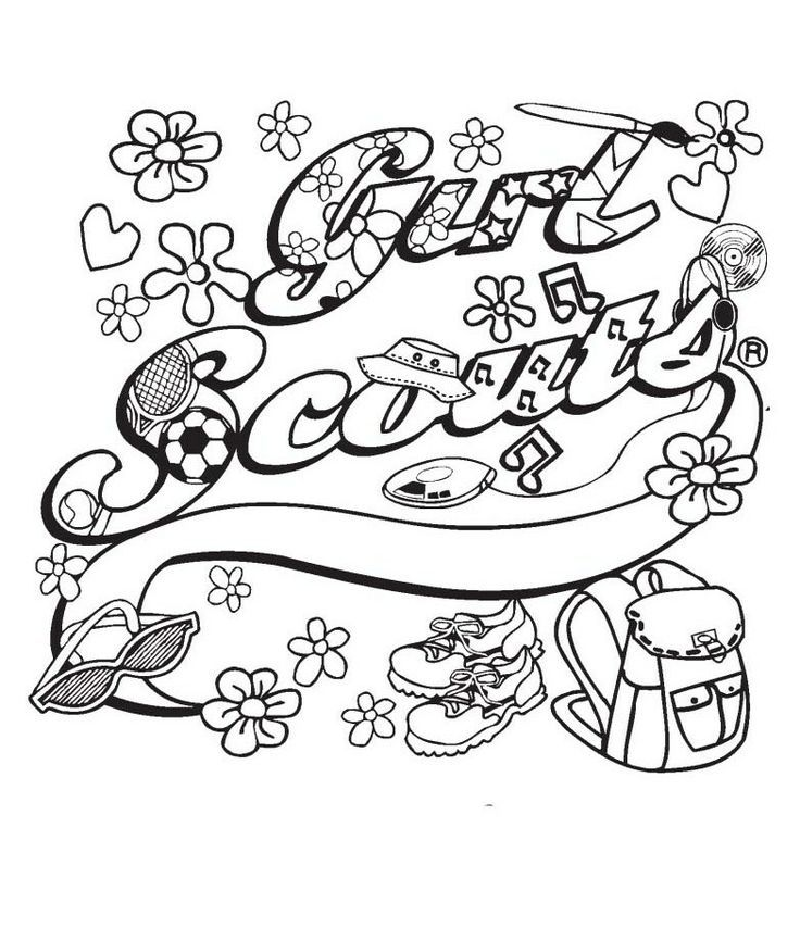 736x865 Brownie Girl Scout Coloring Pages Girl Scout Ribbon Coloring