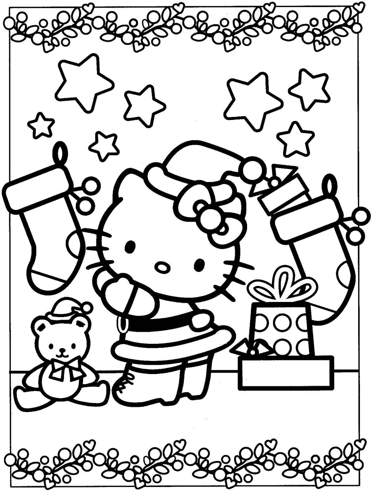 1210x1600 Free Printable Hello Kitty Coloring Pages For Kids Inside