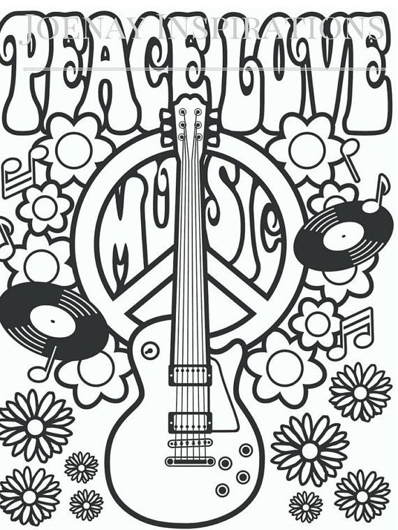 Free Printable Hippie Coloring Pages