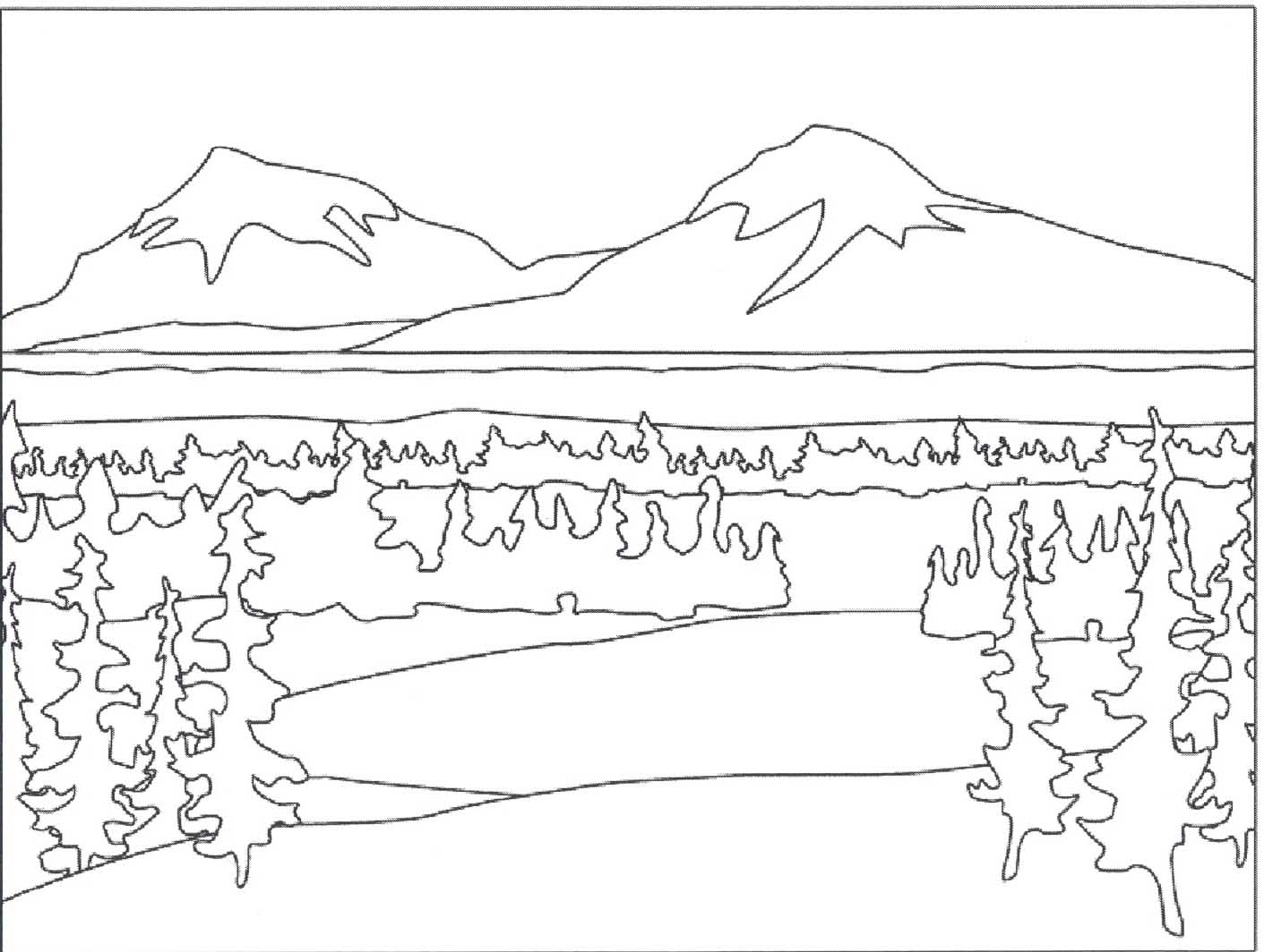 1411x1064 Mountain Scene Coloring Pages