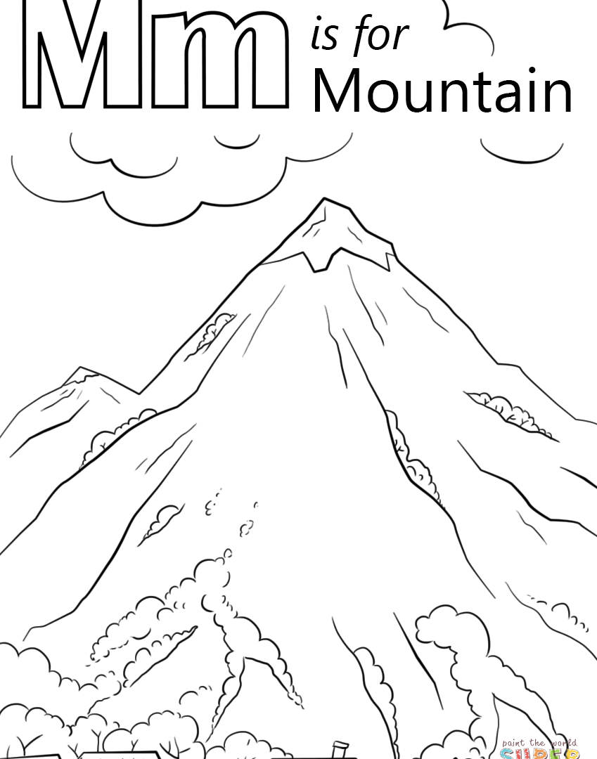 849x1080 Drawn Mountaining Page For Toddler Landscaping Mountain Coloring