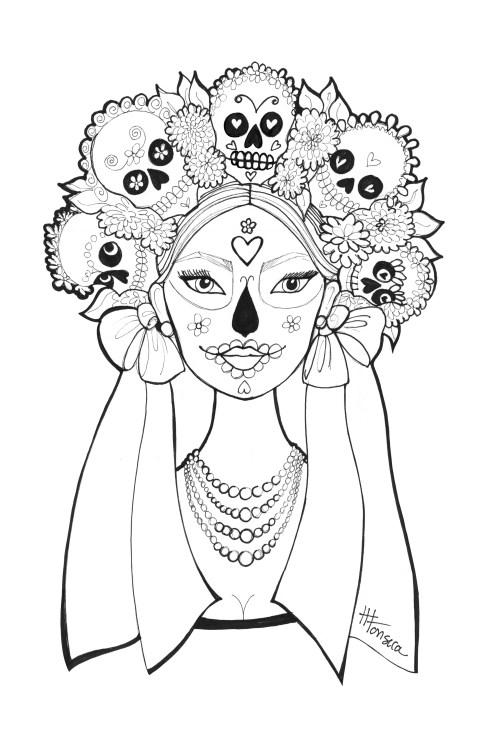 500x750 Dia De Los Muertos Coloring Pages Dia De Los Muertos Coloring