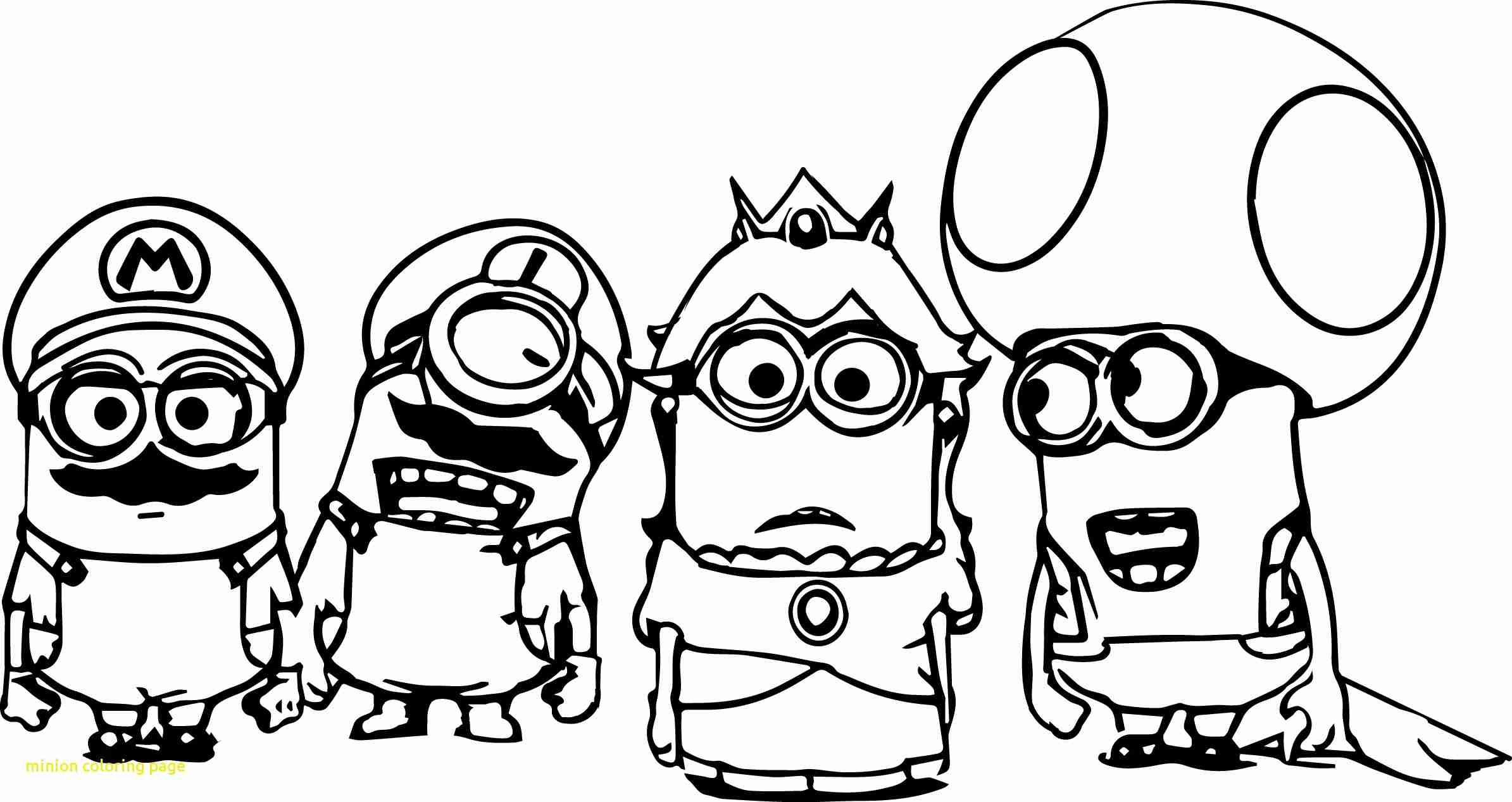 2389x1267 Minion Coloring Page With Free Printable Pages Prepossessing
