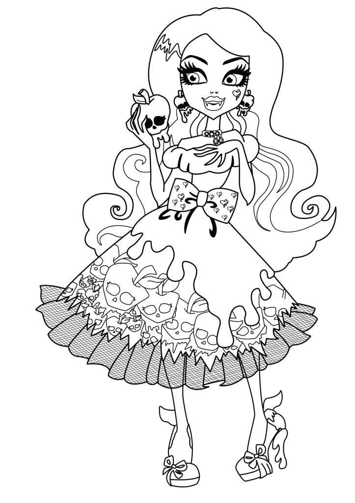 723x1024 Monster High Black And White Coloring Pages Free Printable Monster