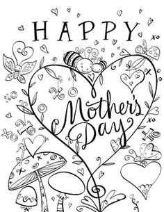 236x305 Free Printable Template For Colouring Mother's Day Card For Adults