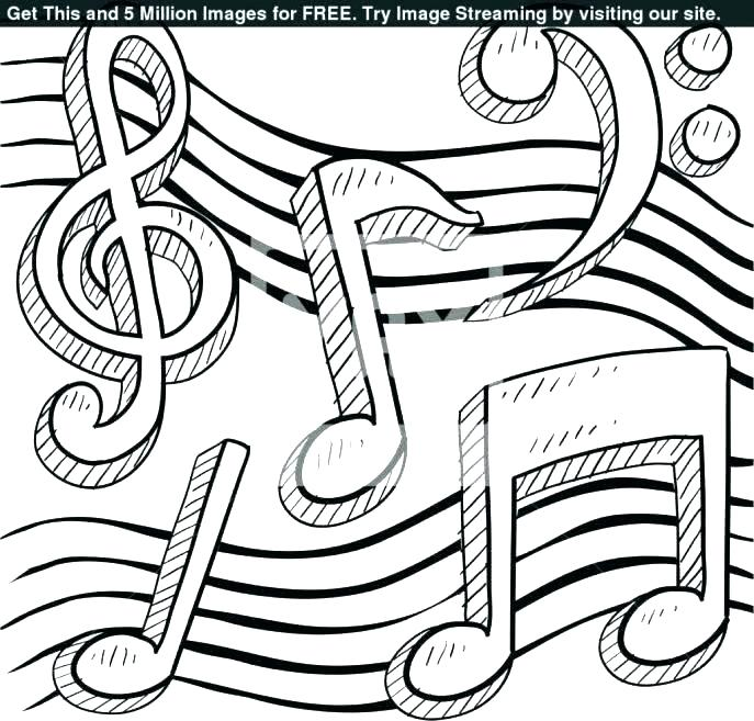 687x657 Music Note Coloring Pages Free Printable Notes Page Medium Size