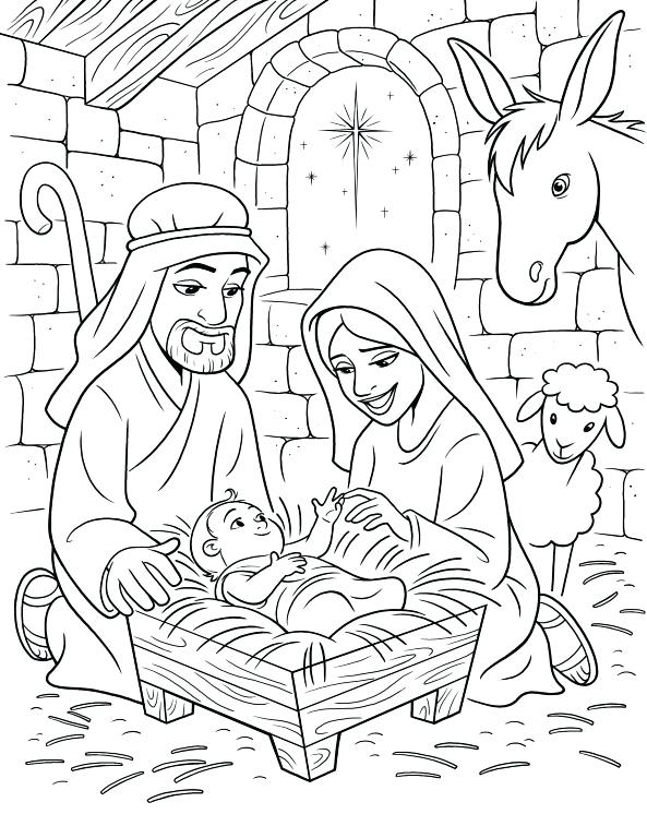 593x768 Amazing Nativity Scene Coloring Pages Kids Book Large Size Of Page