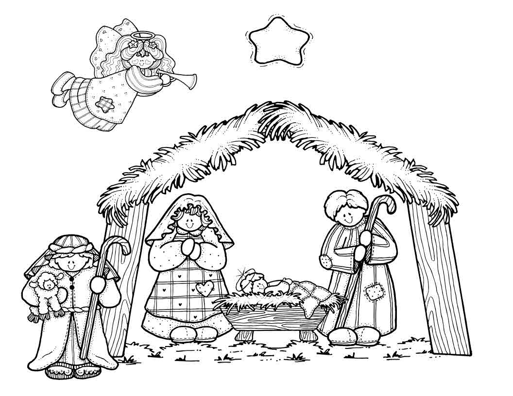 1056x816 Nativity Scene Coloring Pages Printable