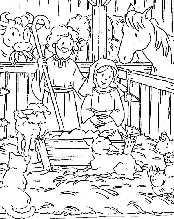 600x757 Scene Of Nativity Coloring Page Color Luna