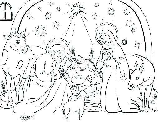 507x392 Coloring Pages Nativity Figures
