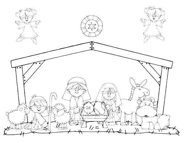 600x464 Nativity Coloring Pages Free