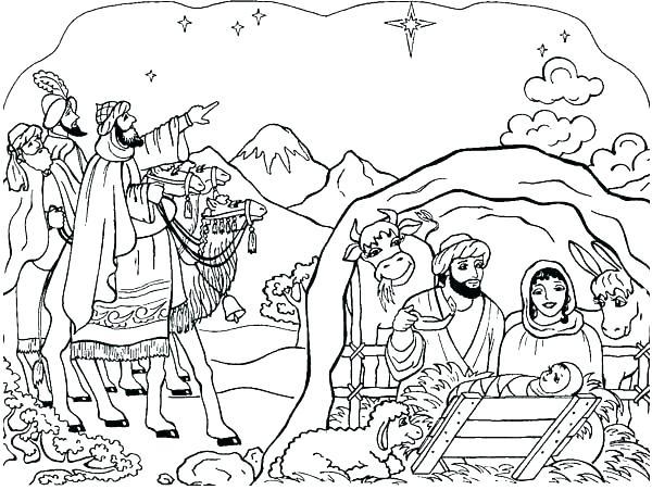 600x451 Nativity Scene Coloring Pages Preschoolers Deepart