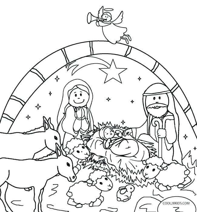 650x700 Christmas Nativity Coloring Pages Printable Printable Nativity