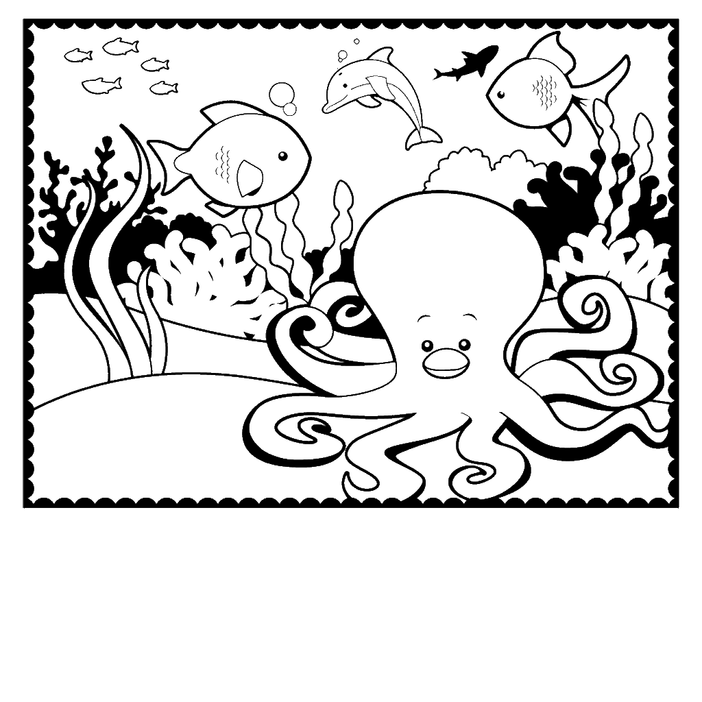1024x1024 Enchanting Coloring Pages Octopus Component