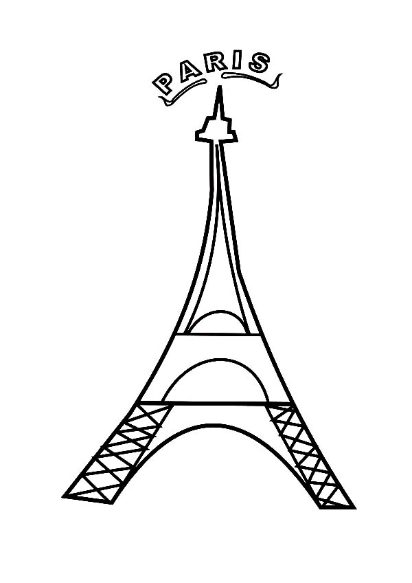 600x848 Paris France Eiffel Tower Coloring Page
