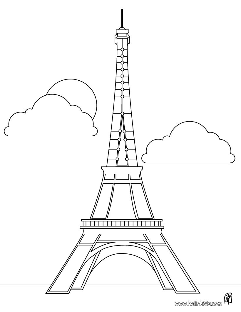 820x1060 Eiffel Tower Coloring Page Pages Hellokids Com