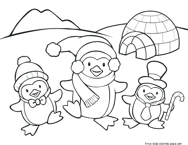 600x464 Printable Penguin Coloring Pages Winter Penguin Coloring Pages