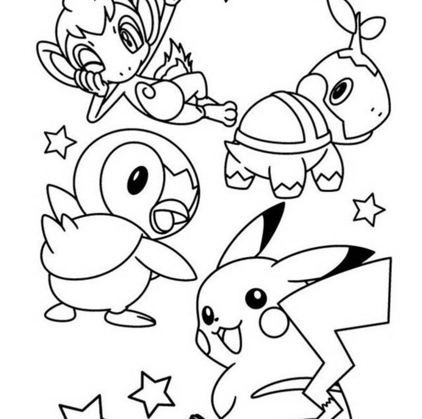 870x864 Pokemon Coloring Pages Pikachu High General Free And Friends High