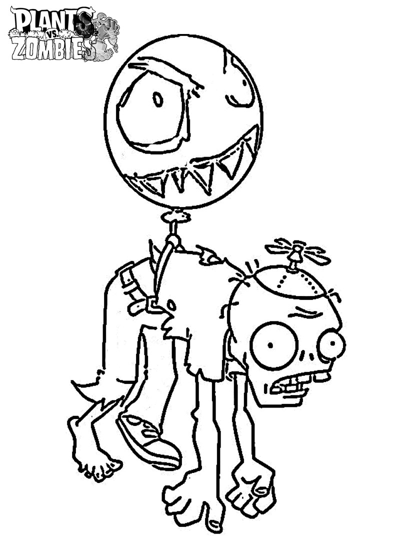 800x1120 Plants Vs Zombies Balloon Zombie Coloring Page Free Printable