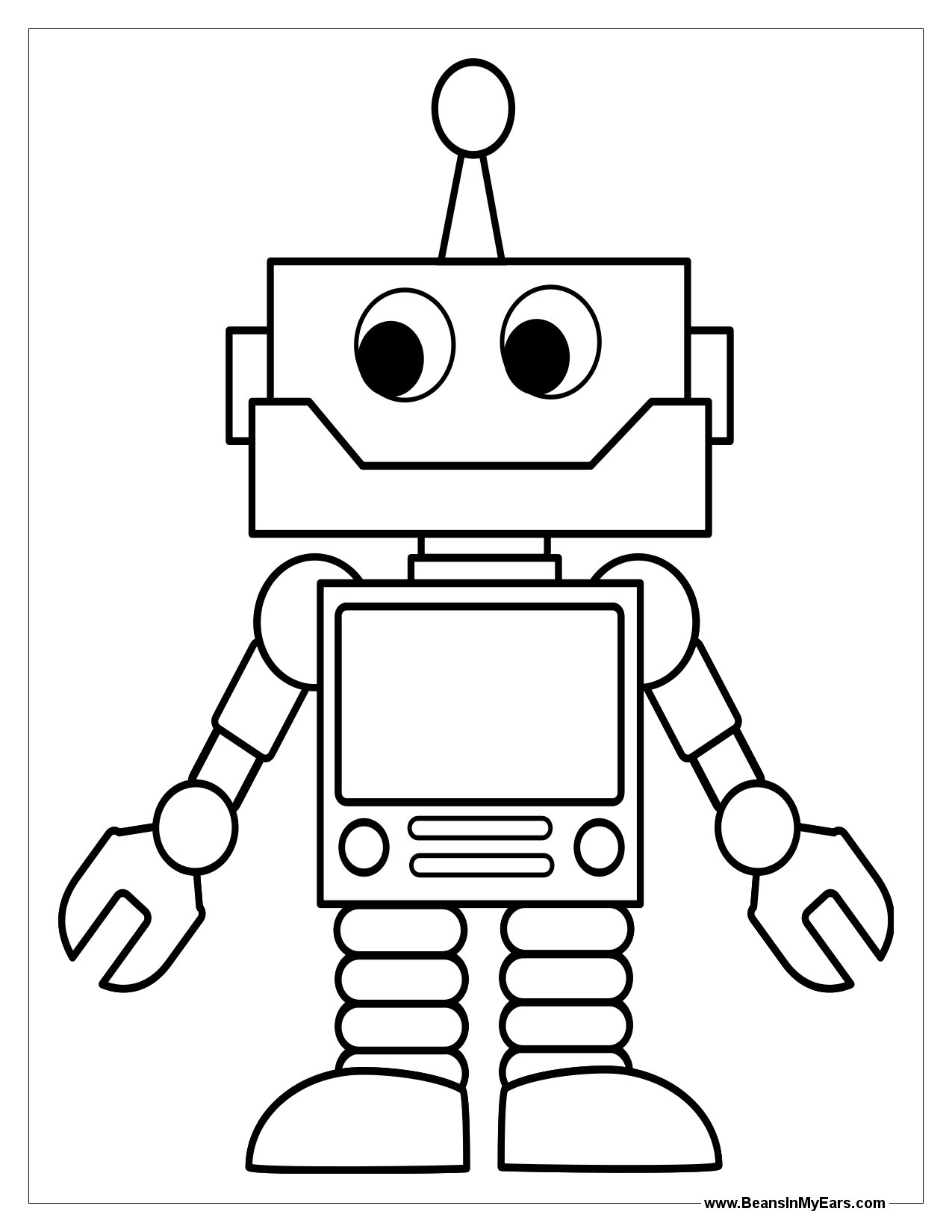 1275x1650 New Robot Coloring Pages Online