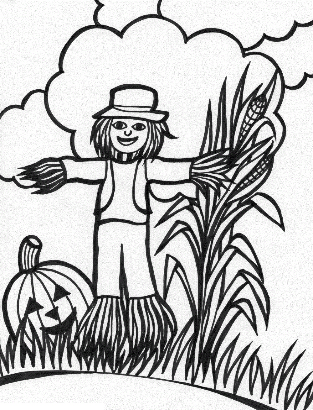 1000x1308 Scarecrow Coloring Page Awesome Scary Scarecrow Coloring Pages