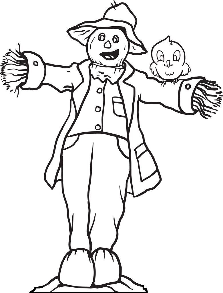 780x1024 Free Printable Scarecrow Coloring Page For Kids