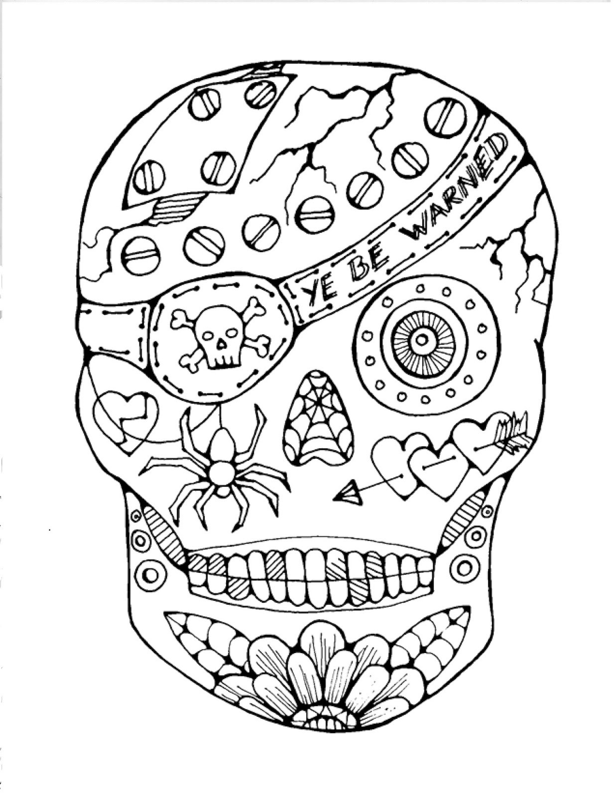 This is a graphic of Free Printable Sugar Skull Coloring Pages with regard to traceable