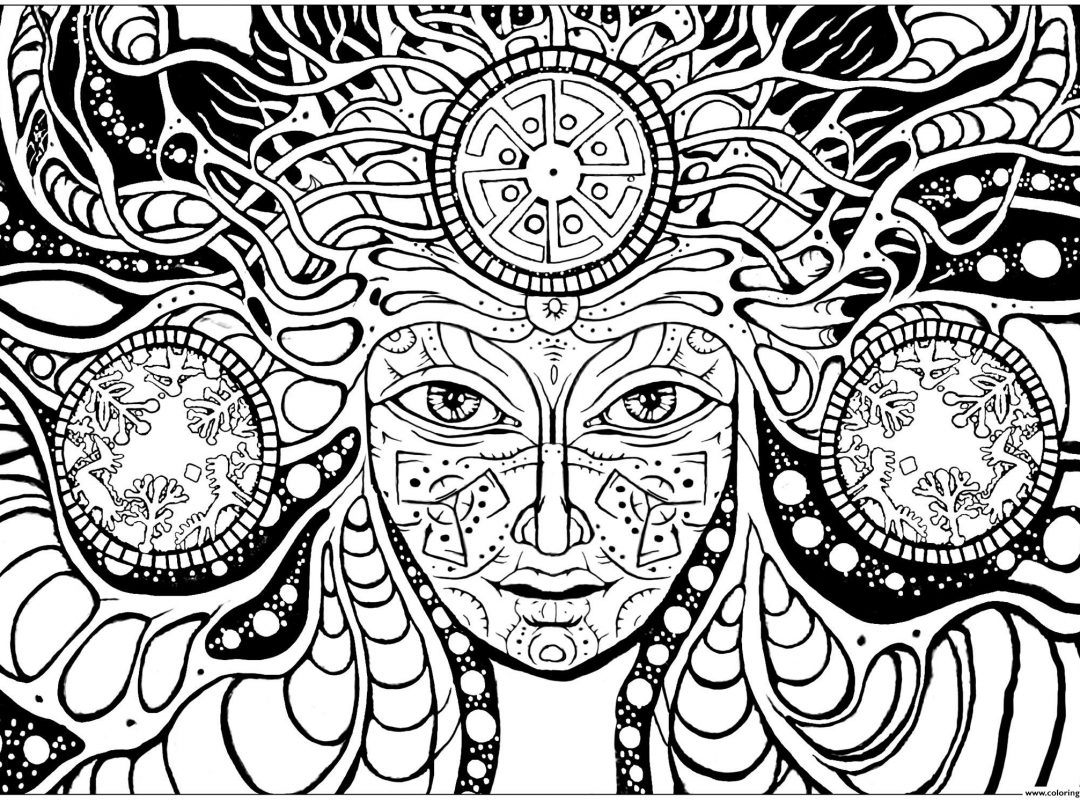 1080x800 Trippy Coloring Pages Mushrooms Free Printable Adult Pot Leaf Book