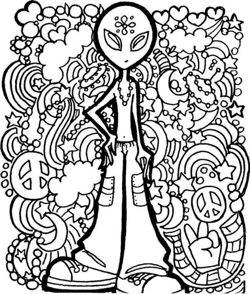869x1024 Alien Trippy Printable Coloring Page Free Coloring Pages
