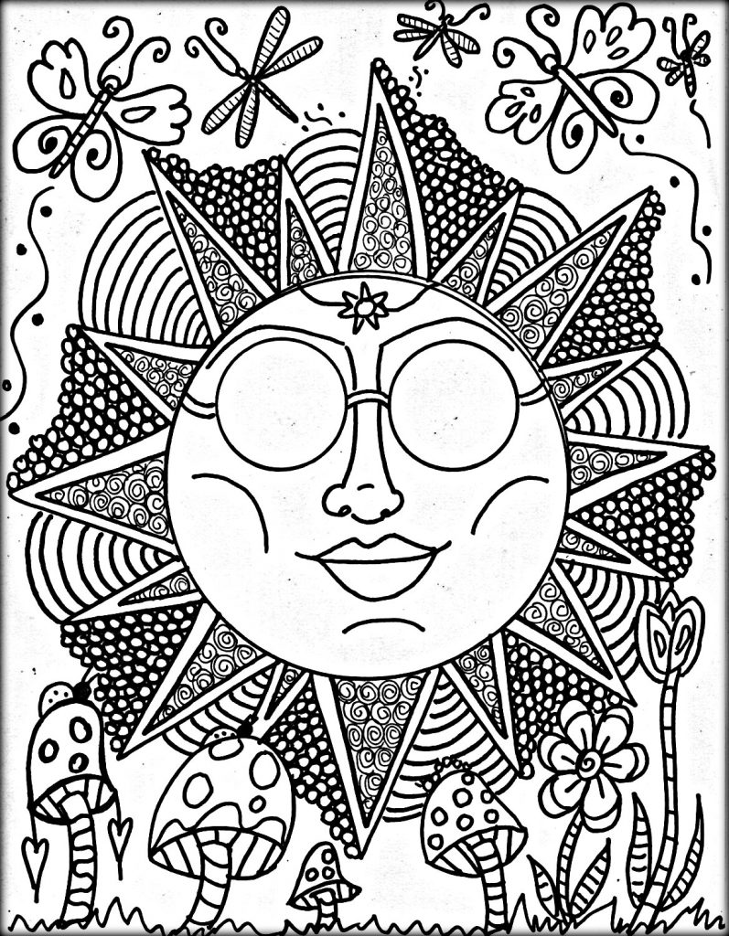 797x1024 Trippy Coloring Pages Women Free Printable Adult Mushrooms Book