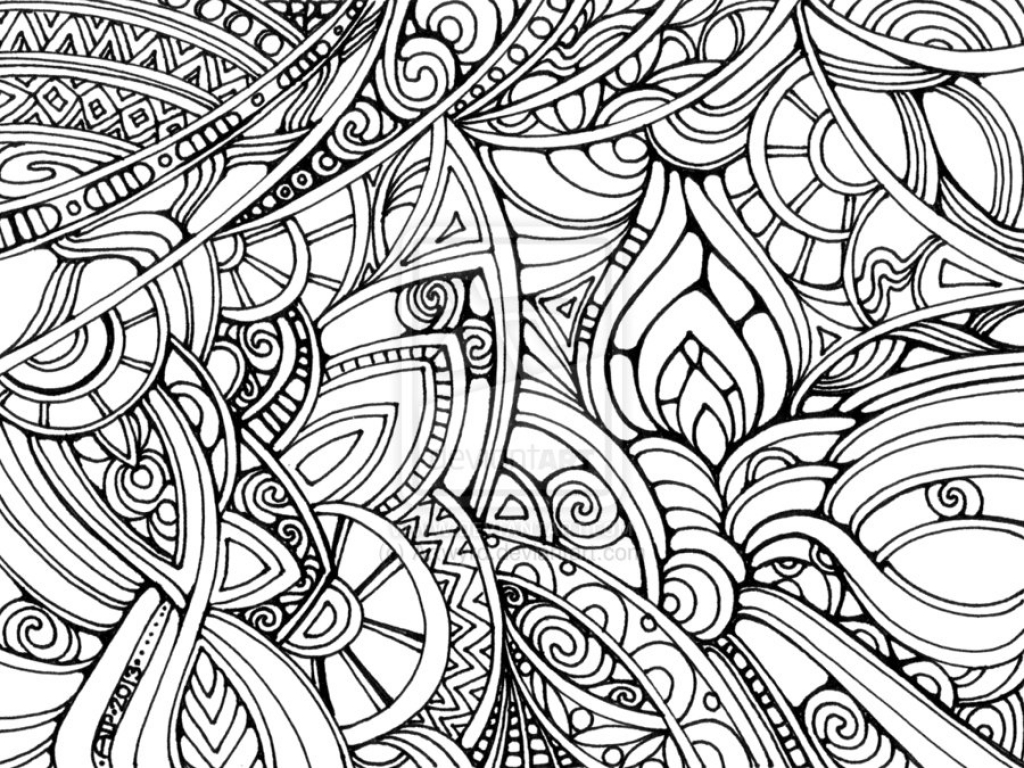 1024x768 Trippy Coloring Sheets Pages Abstract