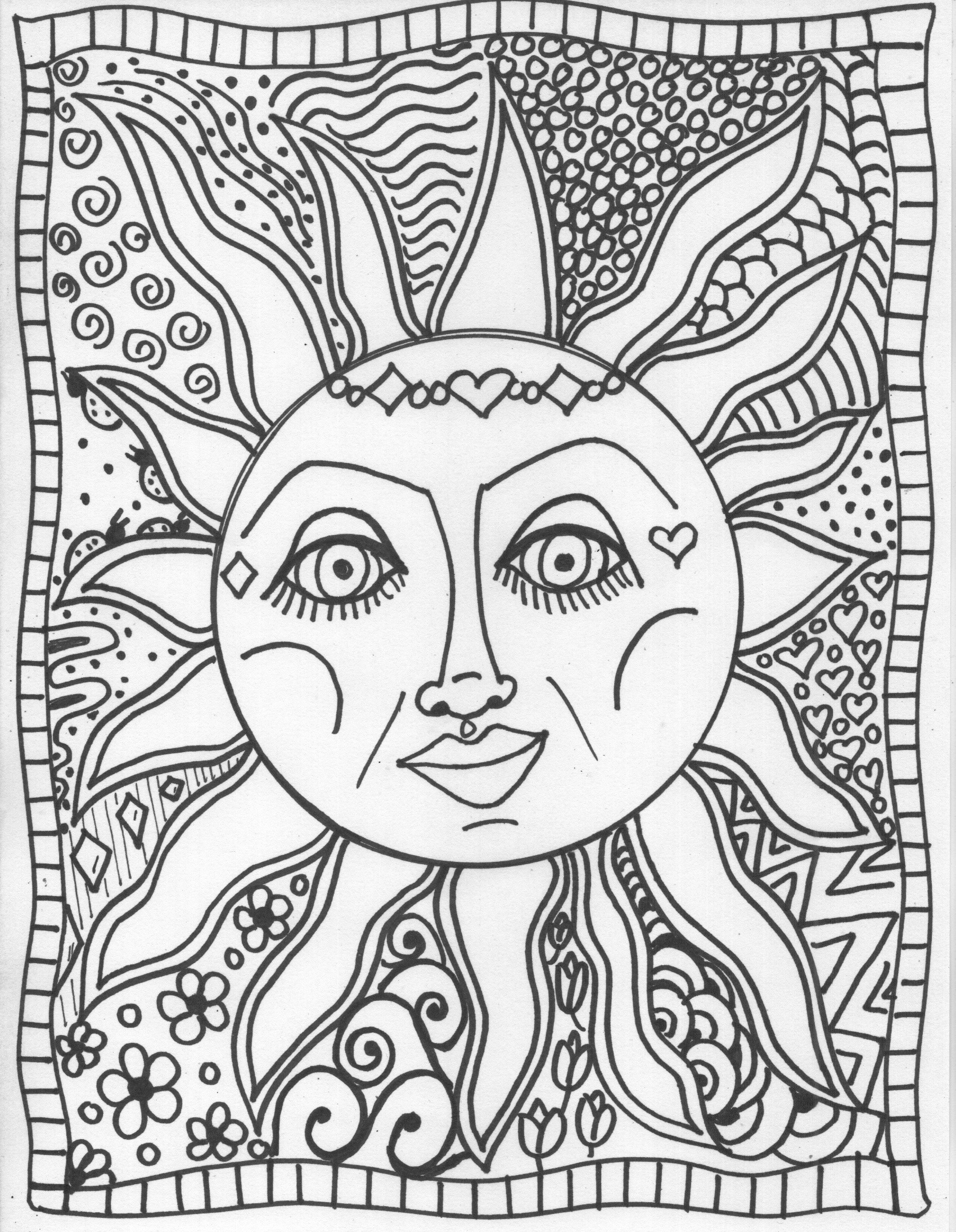 1700x2190 Trippy Coloring Sheets Pages Sun Art