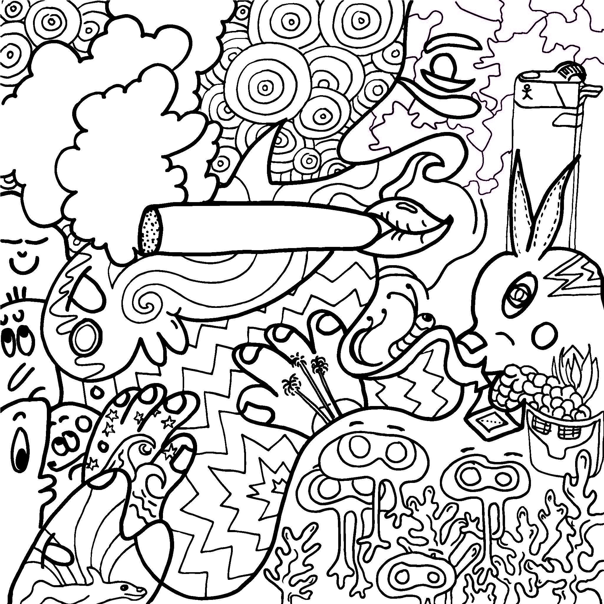 2050x2050 Trippy Weed Coloring Page Free Printable Pages Incredibl Book