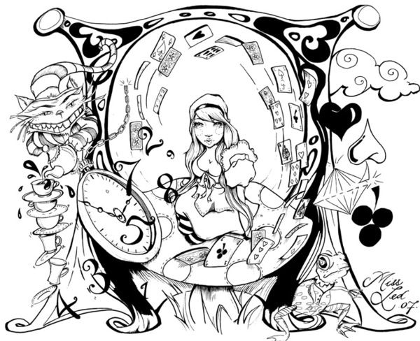 600x488 Creative Inspiration Alice In Wonderland Coloring Pages Free