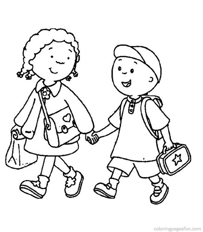 701x800 Kids Walking Coloring Pages For Kindergarten