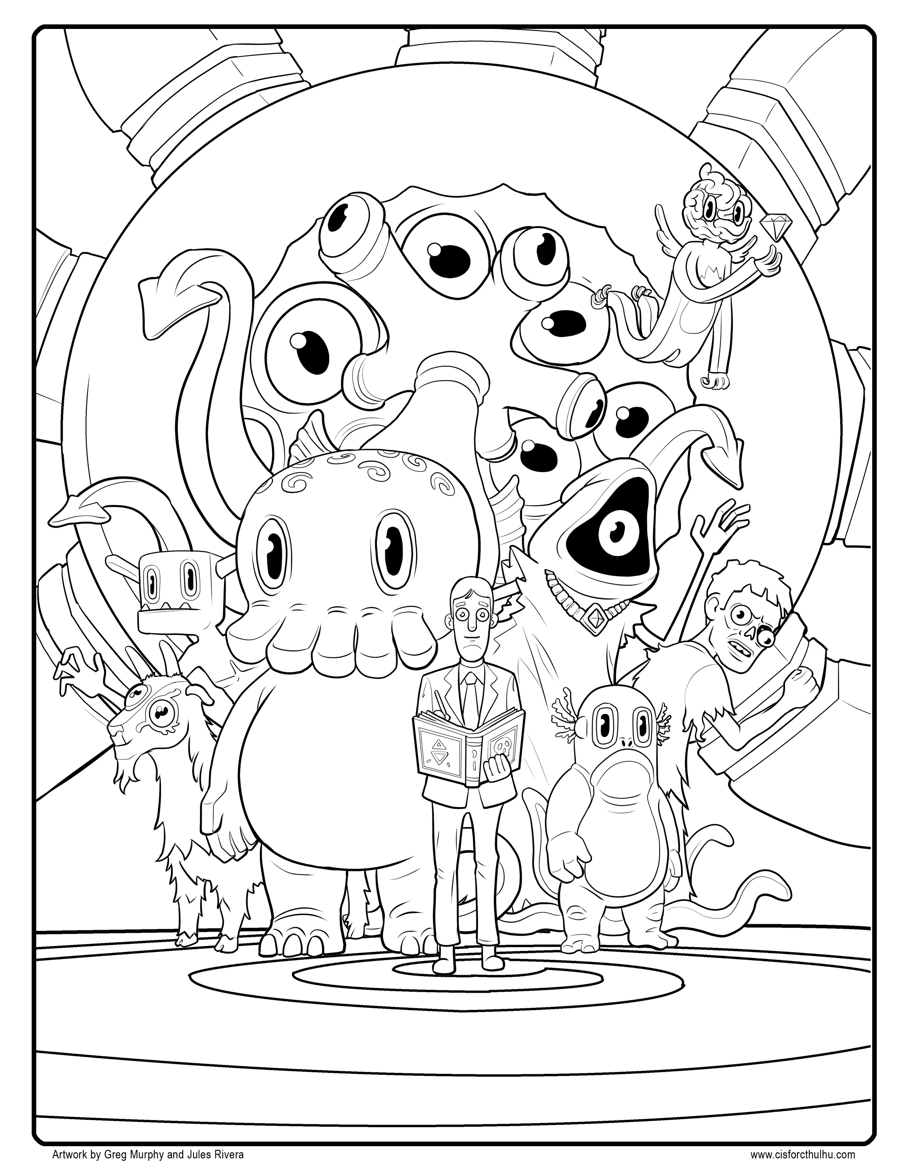 2975x3850 New Free C Is For Cthulhu Coloring Sheet Cool Thulhu Free