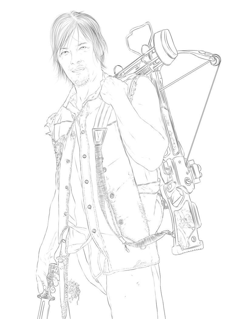 761x1051 The Walking Dead Daryl Coloring Pages Pintar Piso Colores