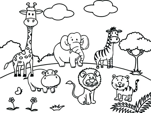 618x466 Zoo Animals Coloring Page Coloring Pages Collection