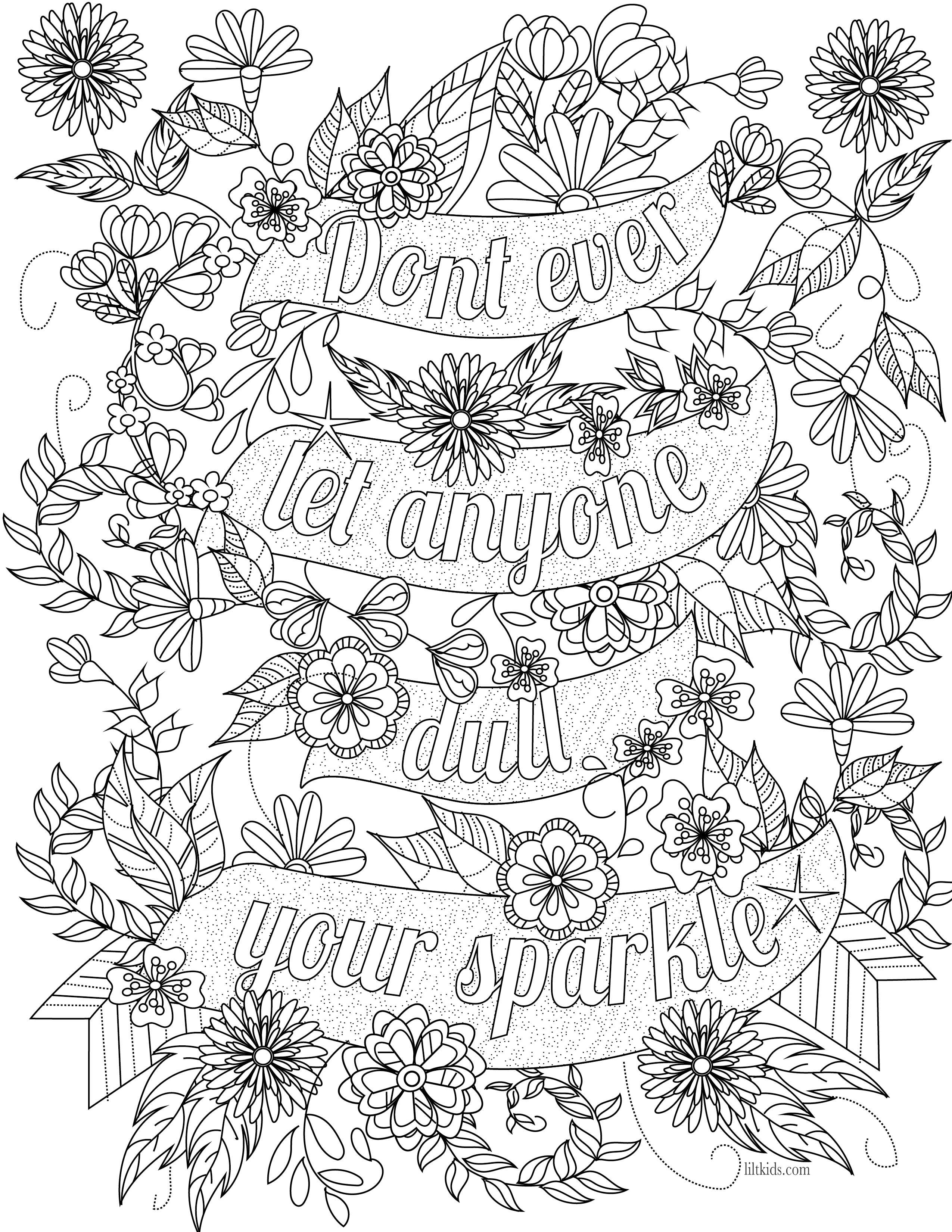2550x3300 Remarkable Inspirational Adult Coloring Book Pages With Quotes